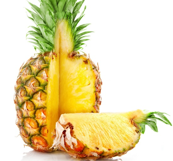 eating pineapple